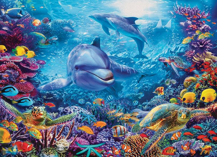 1000pc Dolphins at Play jigsaw puzzle | 51838 | Cobble Hill Puzzle Co by artist Jan Patrik Krasny. A Cobble Hill fantasy jigsaw puzzle.