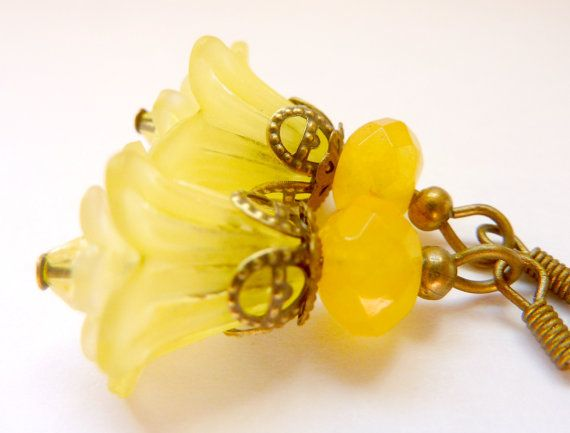 Lemon yellow earrings yellow flower earrings by Dewdropsdreams, $16.00 https://www.etsy.com/listing/97674492/lemon-yellow-earrings-yellow-flower
