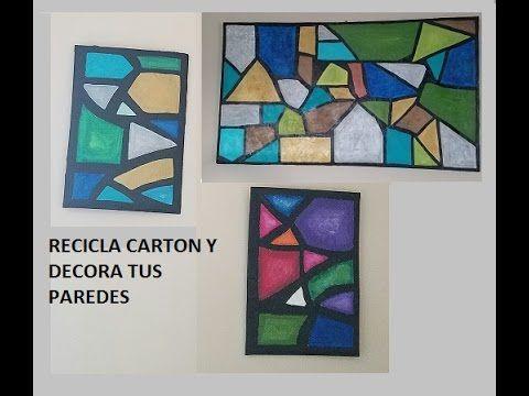 DIY CUADROS DE CARTON Y PASTA DE PAREDES/ wall art made with cardboard a...