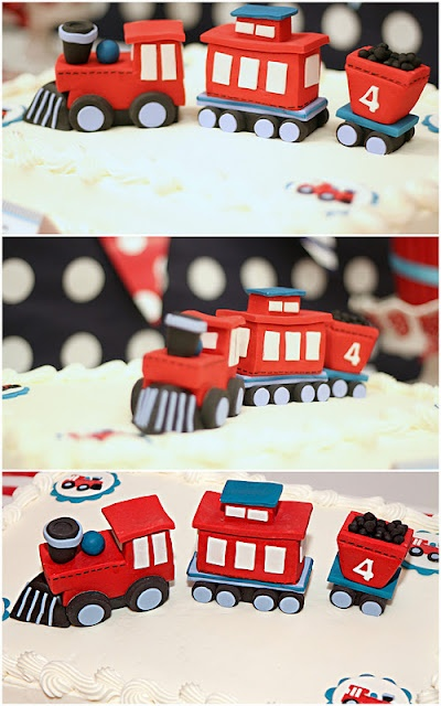 adorable train themed birthday party - this is just the cake, the rest is incredible! Every little detail is themed... I'm tired just looking at it :)