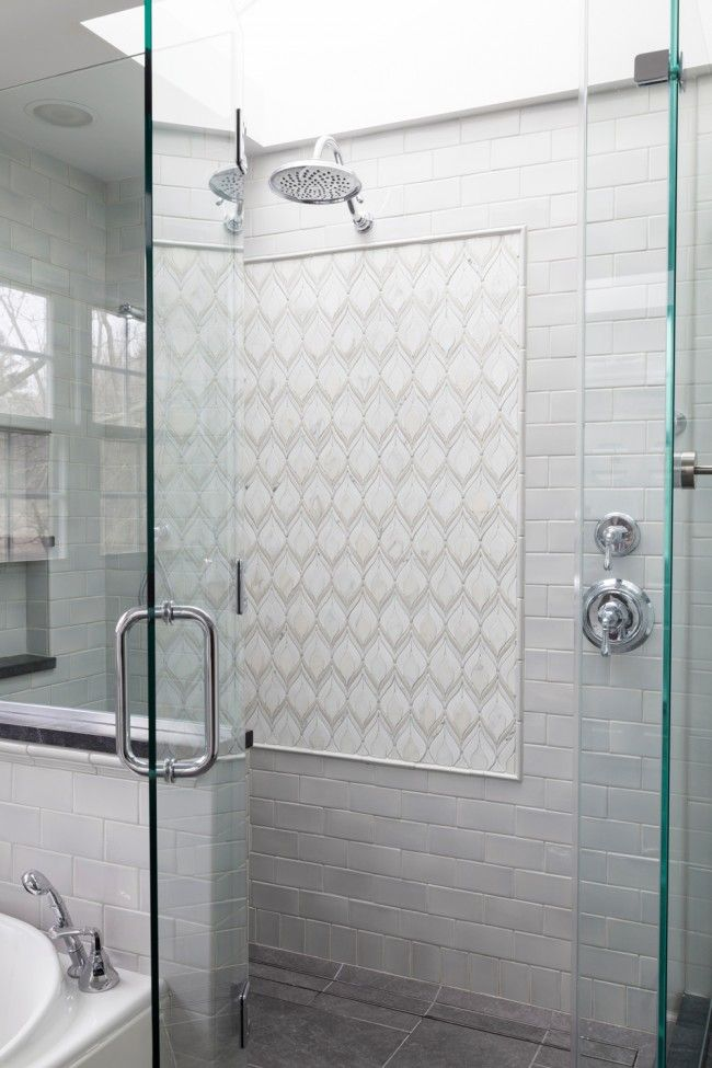 We love this tile s subtle tones and gorgeous shape of - Bathroom wall covering instead of tiles ...