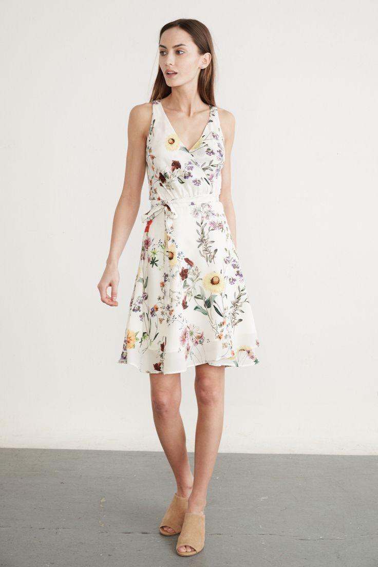 Brandy Silk Wrap Dress (Ivory Garden) – Dresses – Amour Vert
