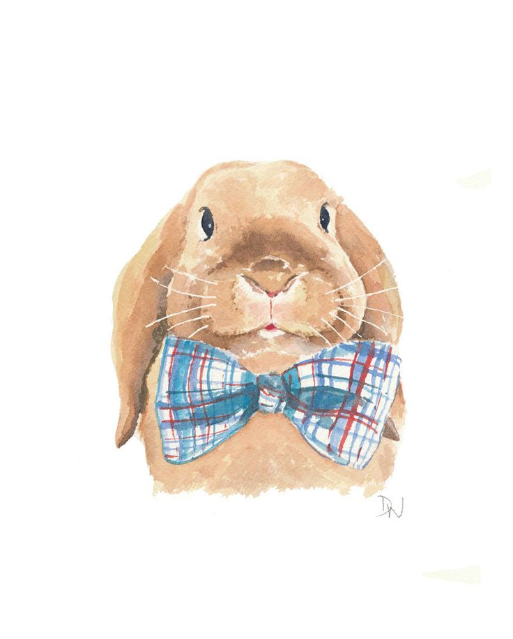 Rabbit Watercolour, Floppy Eared Bunny Original Painting, Plaid Bowtie, 8x10. $40.00, via Etsy.
