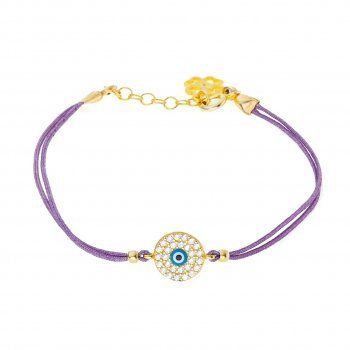 Lilac cord bracelet with Covent Garden eye charm