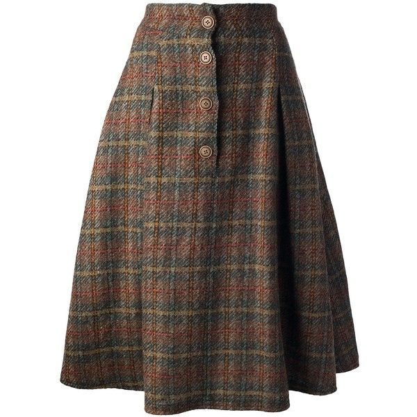 KRIZIA VINTAGE checked a-line skirt (£76) ❤ liked on Polyvore featuring skirts, bottoms, vintage skirts, high waisted skirts, a-line skirt, high-waist skirt and floral print a-line skirt