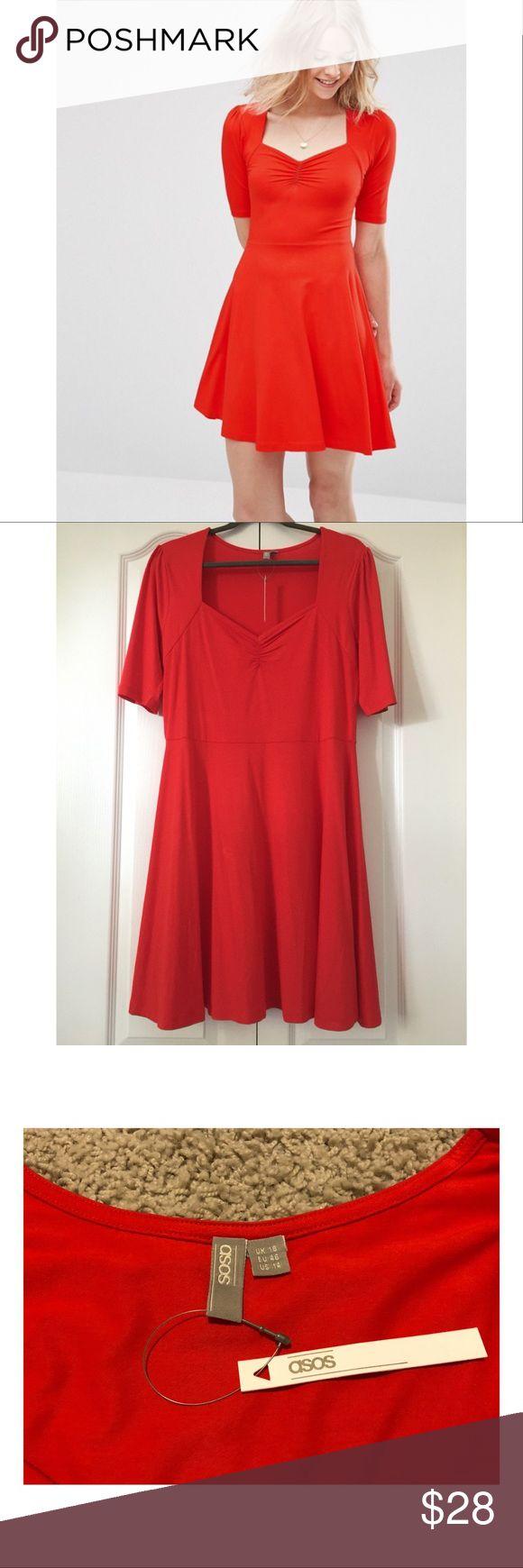 ASOS us14 Fit& Flare Dress, Sweetheart Neckline NWT ASOS UK 18/US 14 red dress with sweetheart neckline Asos Dresses