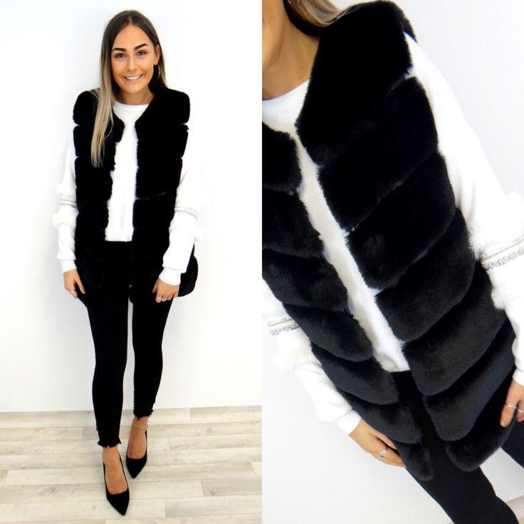 Colette Faux Fur Gilet - Black
