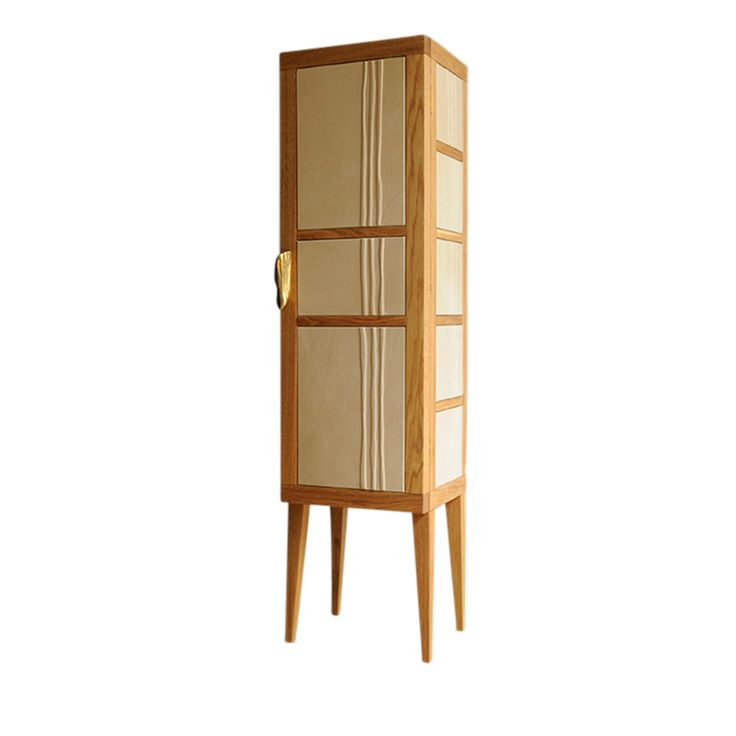 """ABSOLUT"" cabinet, natural solid oak, full grain leather.  NB Milano"