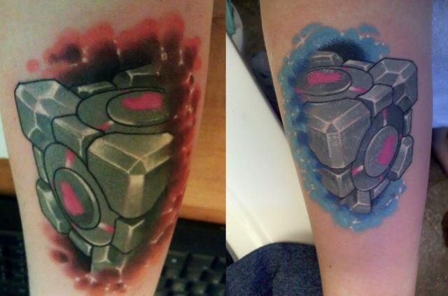My and my best friend's Portal tattoos!  Done by Alex Harris at FTS Gallery in Stratford, CT.