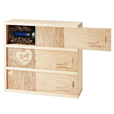 Great Wedding Gift Engraved Wine Box With 3 Bottles Vintages The Can Open