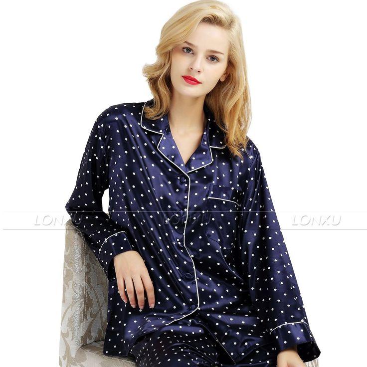 Aliexpress.com : Buy Womens Silk Satin Pajamas Set  Pajama Pyjamas  Set  Sleepwear  Loungewear  S,M, L, XL, 2XL, 3XL  Plus__Fit  All Seasons from Reliable sleepwear loungewear suppliers on Silk  Pajamas