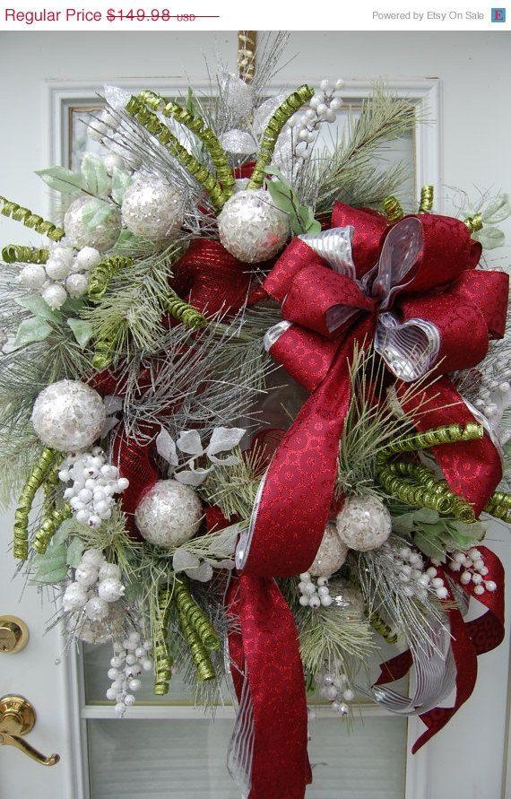 Greens, Silver Balls and Red Ribbon Pretty Wreath