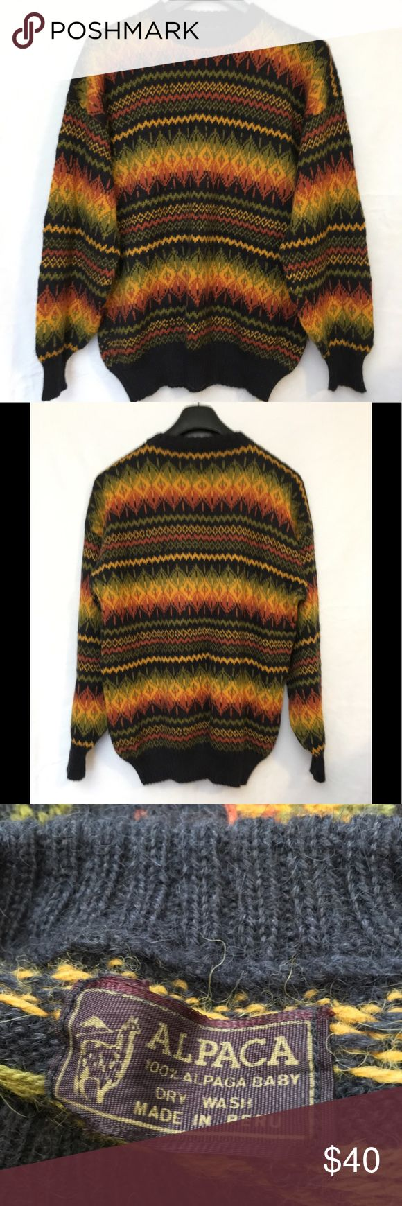 """Alpaca Peruvian Black Knit Patterned Sweater Vintage Alpaca Peruvian Black Yellow Green Knit Patterned Sweater Mens Large  Baby alpaca yarn- incredibly soft! Sweater is in excellent condition with no flaws.  Size LARGE  LENGTH 27.5  SLEEVES 25""""  UNDERARM TO UNDERARM 23""""  Quick shipping! WE SHIP EITHER THE SAME BUSINESS DAY OR NEXT. ORDERS ON WEEKENDS ARE IN MAIL BY MONDAY MORNING. Sweaters Crewneck"""