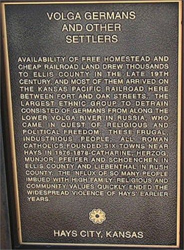 This is a commemorative plaque located on West 9th st in Hays, Kansas, near the site where the first Volga German Immigrants arrived by train in February of 1876.