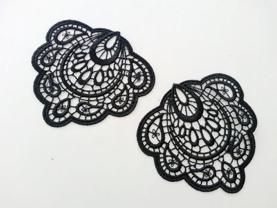 4 PCS Craft Suppliques / Lace Earrings Material/ by LaceDecoration, $3.79