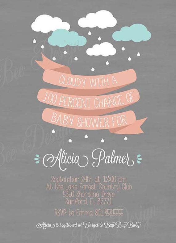 Raining Baby Shower Invitation  Custom by SweetBeeDesignShoppe, $12.00