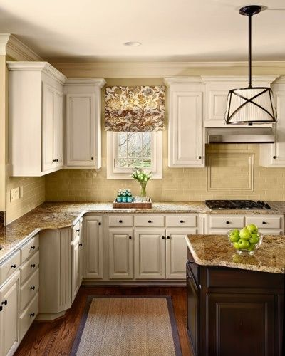 Walls sw 6121 whole wheat cabinets painted creamy for Beige painted kitchen cabinets