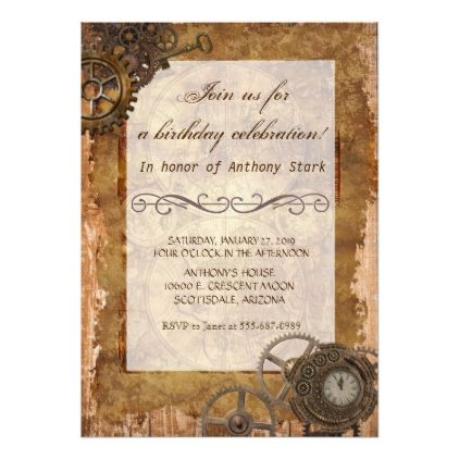 Steampunk Industrial Vintage Birthday Party Invite - birthday cards invitations party diy personalize customize celebration