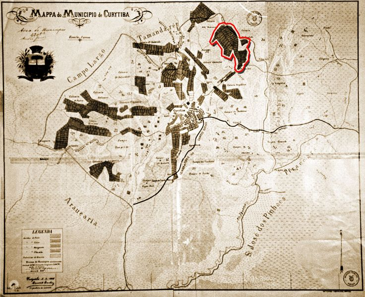 Mapa de Curitiba de 1906 ou 1908 com destaque das colônias implantadas. Contornado de vermelho a colônia Santa Cândida.