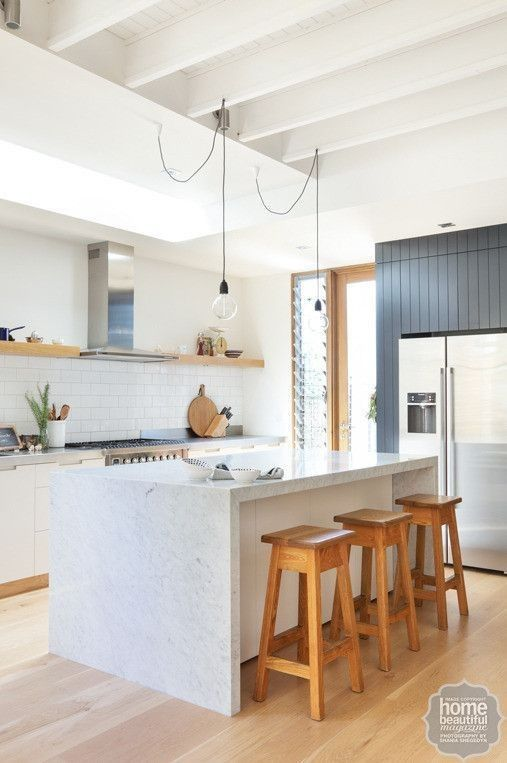 10 classic kitchens you will love forever American oak floorboards and Dulux Natural White on the walls and ceiling act as a neutral base. An island bench enveloped in honed Carrara marble makes this modern kitchen the heart of the home.