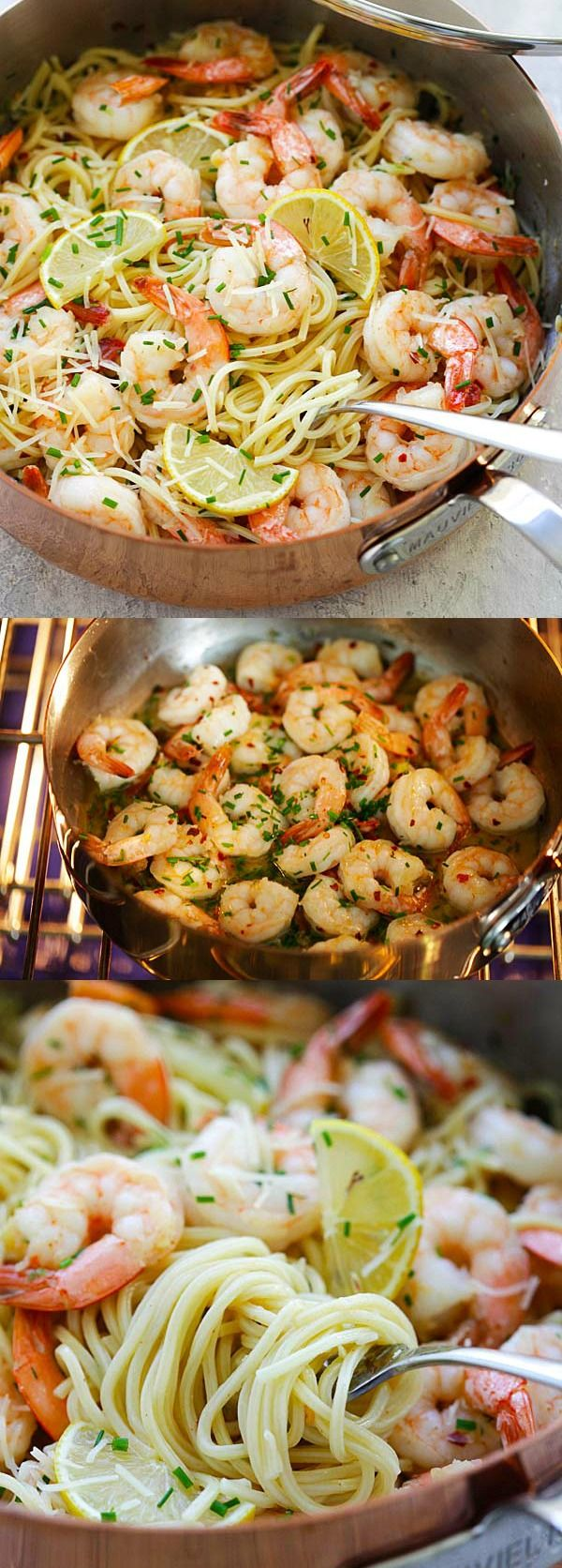 Garlic Chive Butter Shrimp Pasta – easy delicious pasta loaded with garlic chive butter shrimp. Weeknight dinner is a breeze with Mauviel saute pan | rasamalaysia.com #ad