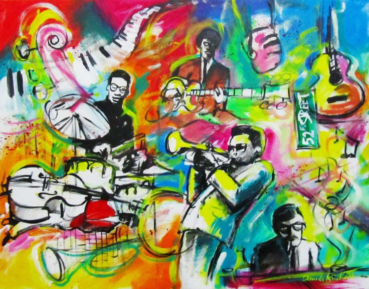 "Davide Ricchetti : ""Jazz 52th street"" , acrylic on canvass, cm 40x50, 2011"