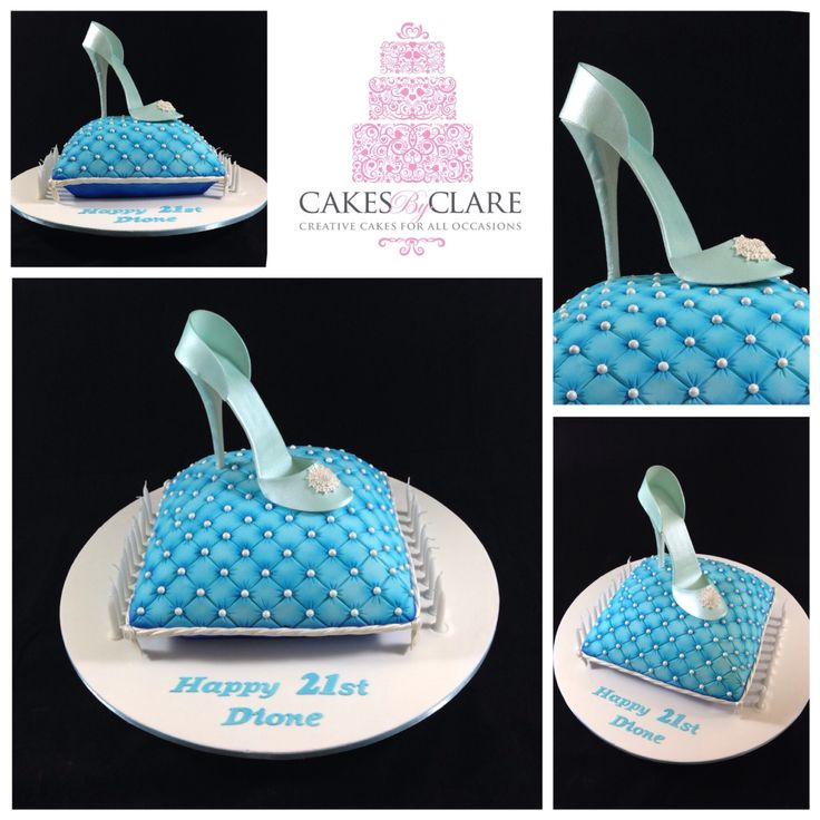 Cinderella inspired pillow cake with fondant glass slipper.