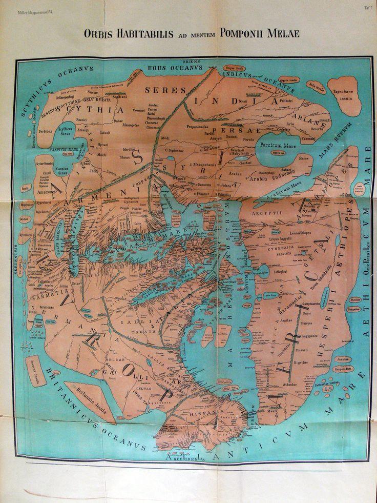 Um mapa do mundo em 43 d.C.: uma reedição de um mapa desenhado por Pomponius Mela, um estudioso romano creditado como pai da geografia. | 18 mapas que mudarão a forma como você vê o mundo