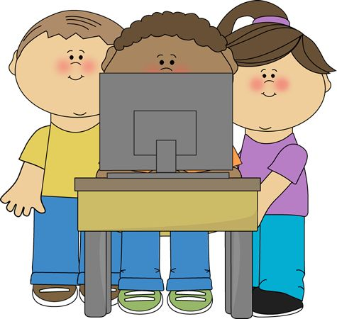 Kids using a school computer from MyCuteGraphics