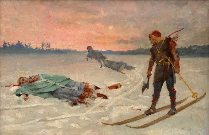 "Albert Edelfelt(1854-1905), ""DEATH OF BISHOP HENRIK"".1877 Oil on canvas 27x40,5 cm."