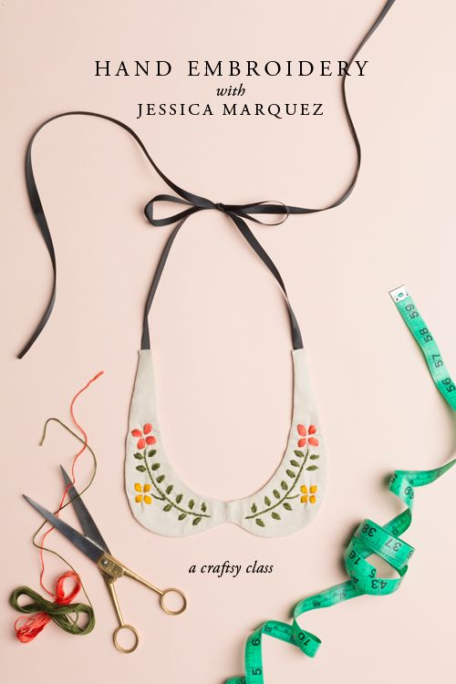 Hand embroidered collar necklace DIY