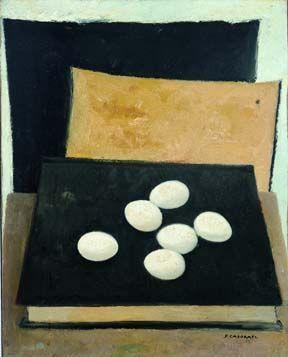 Felice Casorati (1886-1963) Eggs on a Book, 1949 Oil on canvas 50 x 40 cm