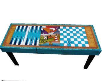 Custom Made Games Table/ Checkerboard Table/ Backgammon Table/ Coffee Table/  Table | Decoracion | Pinterest | Game Tables, Checkerboard Table And Coffee