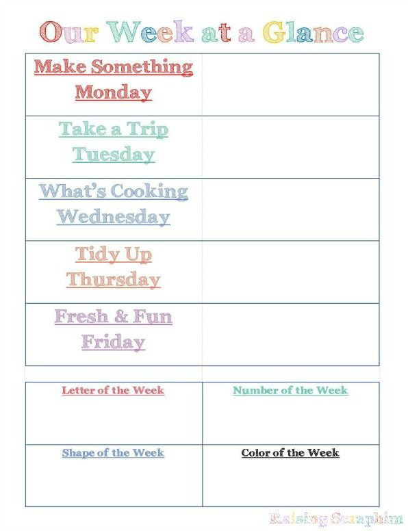 Summer Weekly Schedule for Toddlers. Create a fun, structured environment for all kids, regardless of age with the ideas she shares here.