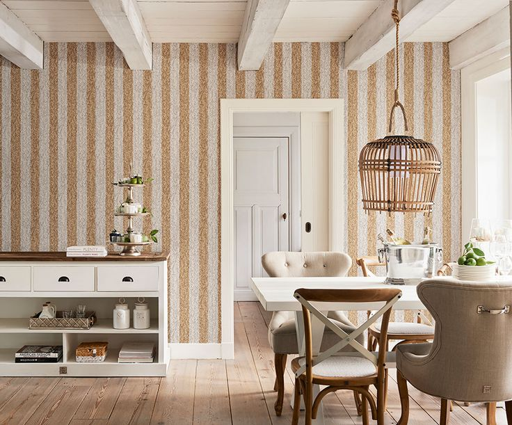 Rustic natural and white stripe rattan wallpaper. Pattern 18310.