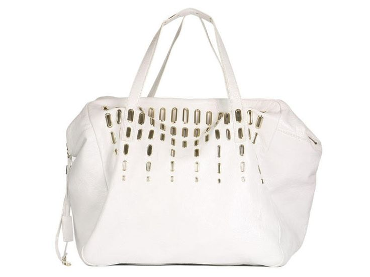 Jimmy Choo White Leather Dessy Holdall Bag