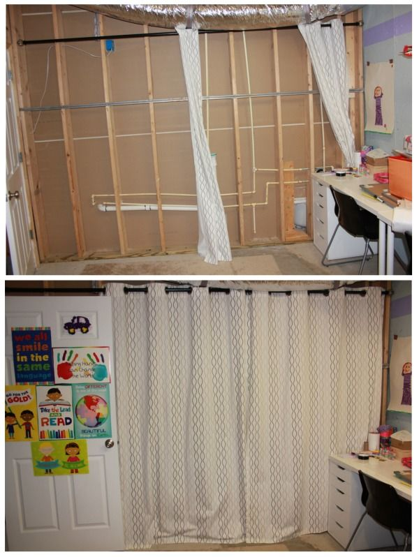 Use Curtains To Transform Basement Walls In An Unfinished Basement