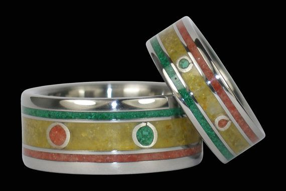 One Love Rasta Wedding Titanium Ring Set on Etsy, $1,150.00