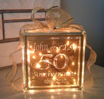 50th Anniversary Glass Block $35  Xpressables.com