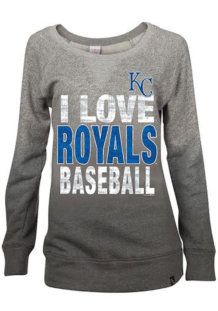 Kansas City Royals Womens Crew Sweatshirt - Grey Royals Love Dip Dyed Mocktwist Long Sleeve Sweatshirt