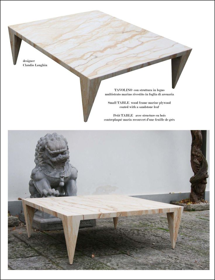 Coffee Table Little Space Sandstone Measures: 120 x 120 x 4 cm, height 35 cm; wood frame marine plywood coated with a sandstone leaf.