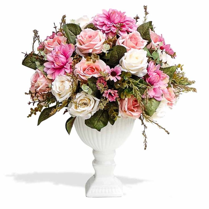 Arranjo de flores artificiais flores mistas cachepot pedestal 40x25 cm - Arranjos de Flores