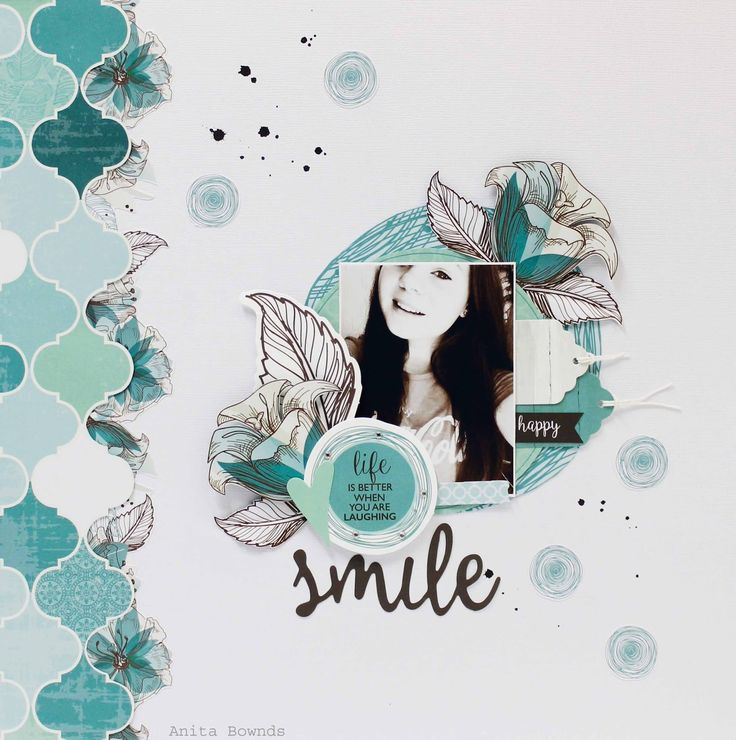 Smile #layout for #kaisercraft by Anita Bownds using sea breeze