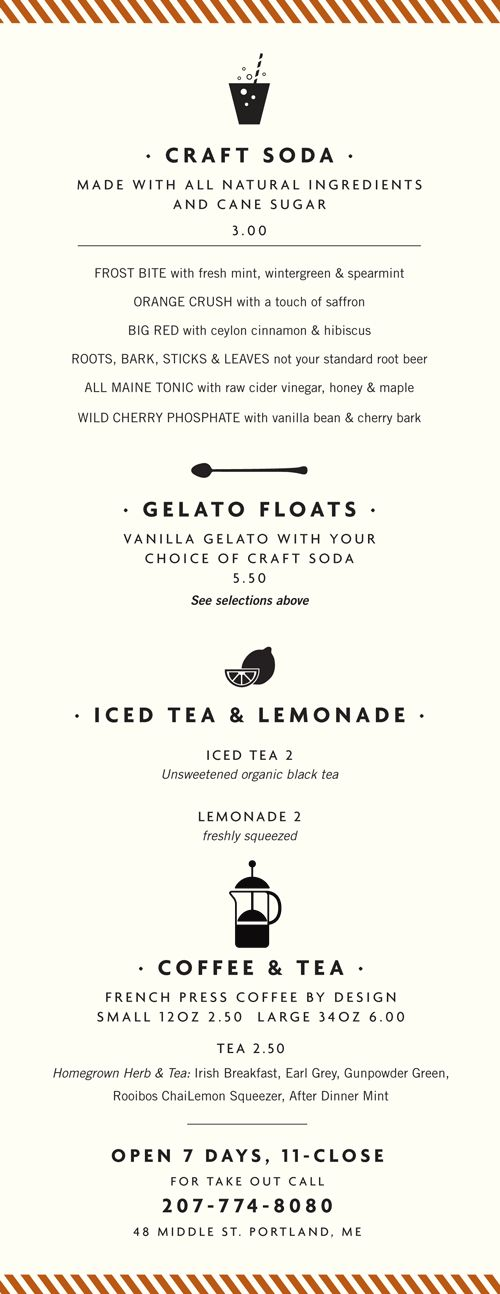 Menu design // Portland Maine