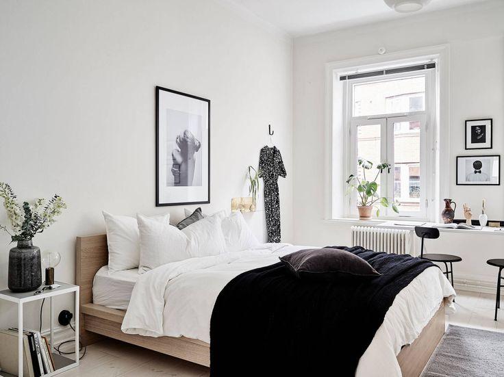 Scandinavian bedroom with workspace