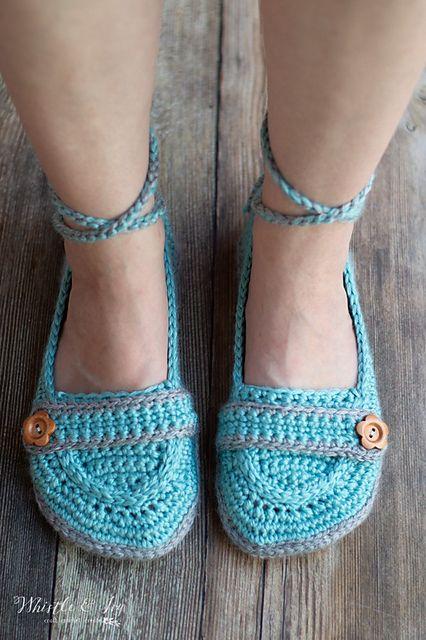 e97681959 Ravelry  Ankle Tie Slippers pattern by Bethany Dearden