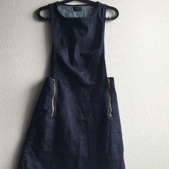 Topshop denim jumper dress blue SZ 4 Denim dress romper Topshop Dresses Mini