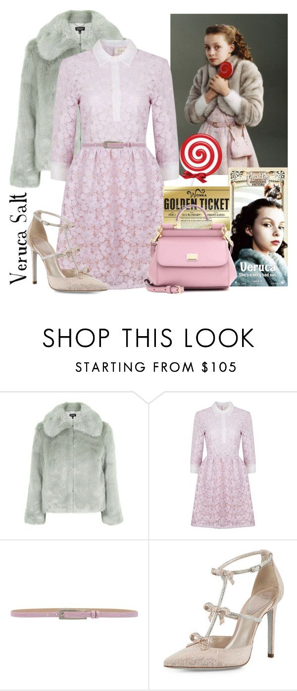 """Veruca Salt - Charlie & The Chocolate Factory"" by sailorjerri ❤ liked on Polyvore featuring Topshop, Ukulele, MaxMara, René Caovilla and Dolce&Gabbana"