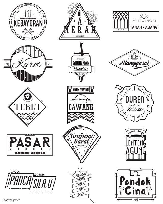 Retro Vintage Hipster Logo Black and White Commuter Line Jakarta