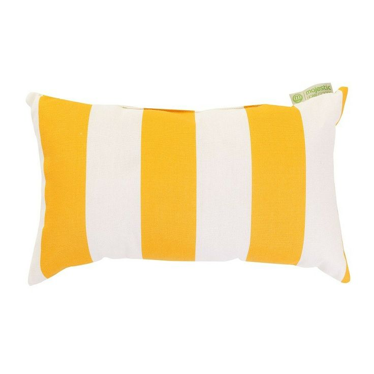 yellow vertical strip small pillow great for indoor and outdoor use stuffed with super plush polyester fiberfill woven from durable outdoor treated